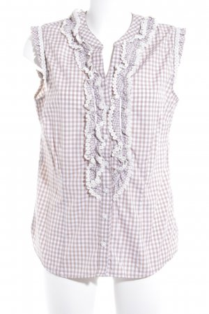 Krüger Traditional Blouse beige-white check pattern casual look
