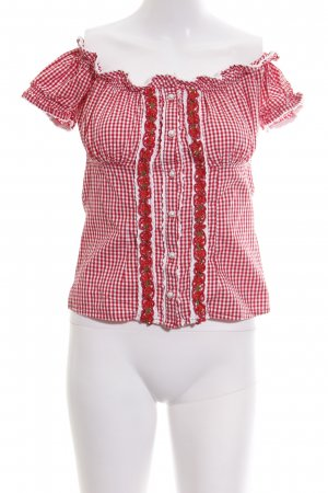 Krüger Traditional Blouse red-white allover print classic style