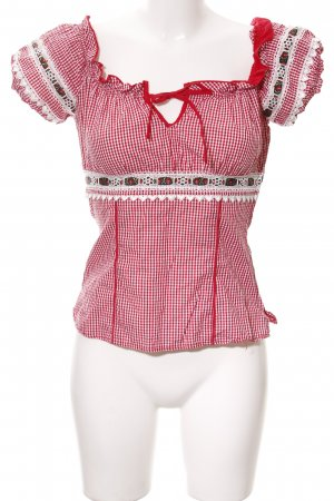 Krüger Traditional Blouse dark red-natural white check pattern country style