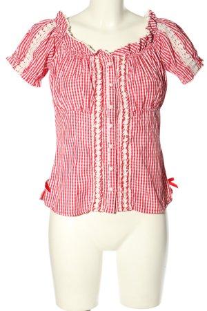 Krüger Chemise bavaroise rouge-blanc imprimé allover style classique