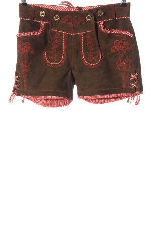 Krüger Pantalon bavarois brun-rouge motif à carreaux élégant