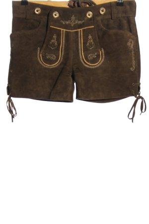 Krüger Pantalón de cuero tradicional marrón-amarillo pálido look casual