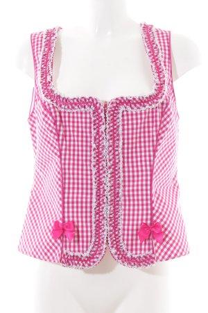 Krüger Trachtenweste weiß-pink Karomuster klassischer Stil
