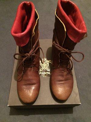 Kudeta Botas con cordones marrón-rojo oscuro