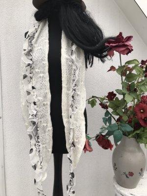 Écharpe en tricot blanc cassé-noir