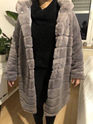 Giacca di pelliccia grigio-lilla-malva