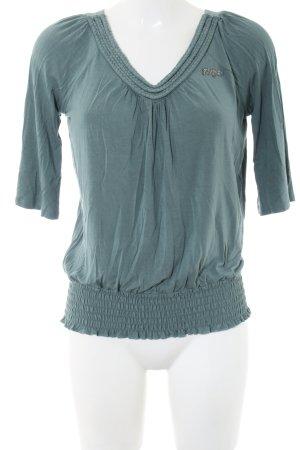 Kuhjo V-Ausschnitt-Shirt blau meliert Casual-Look