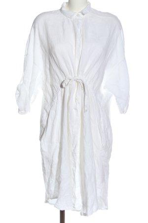 Kultfrau Hemdblusenkleid 100% Leinen ITALY weiss one size