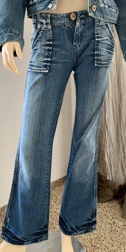 Pepe Jeans London Jeans vita bassa blu acciaio Cotone