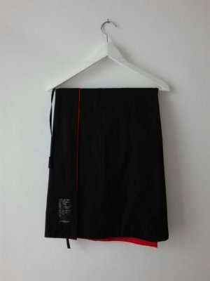 Wraparound Skirt black-brick red cotton