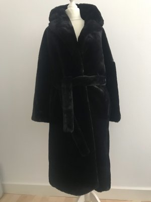 Kunst Fellmantel Mantel schwarz Zara NEU XS-S
