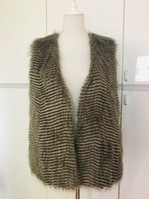Fake Fur Vest black brown-camel