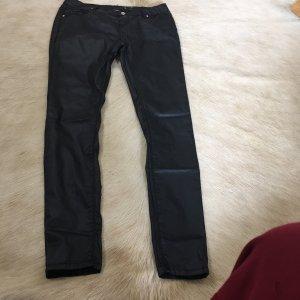 100% Fashion Pantalón de efecto piel negro