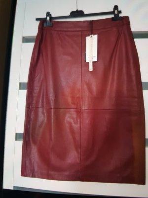 Stradivarius Faux Leather Skirt dark red