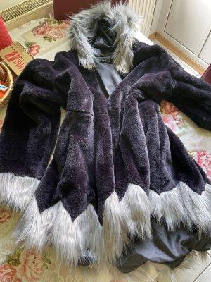 Veste en fausse fourrure noir-gris