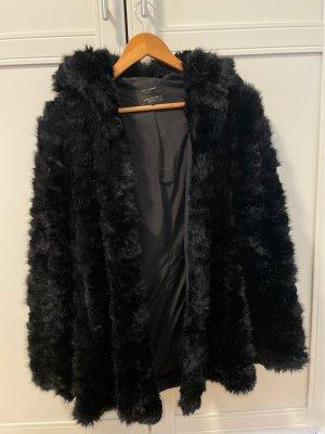 Zara Manteau de fourrure noir