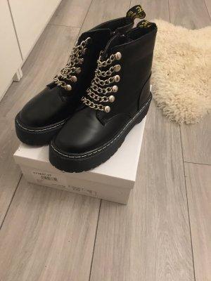 Platform Boots black-silver-colored