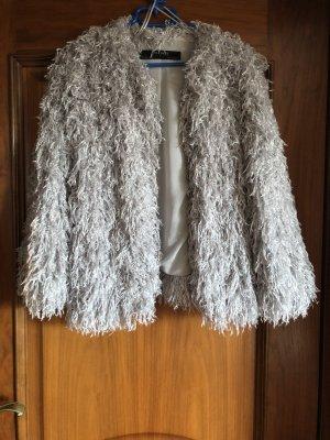 Zara Fake Fur Jacket silver-colored-pale blue
