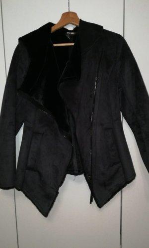 H&M Giacca in eco pelliccia nero-argento
