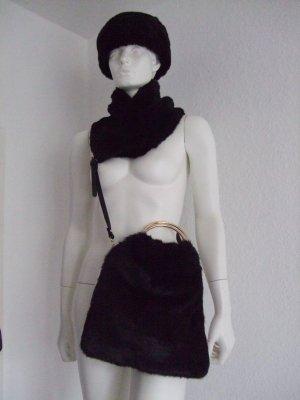 Kunstfell Mütze + Schal + Tasche ZARA