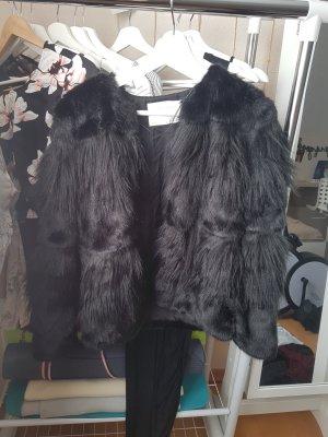 Zara Woman Giacca in eco pelliccia nero
