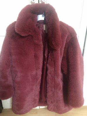 H&M Fake Fur Jacket raspberry-red
