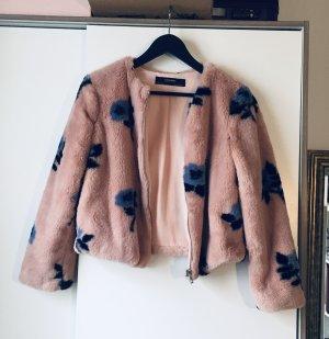 Zara Fake Fur Jacket steel blue-pink