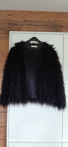 Giacca in eco pelliccia nero-antracite