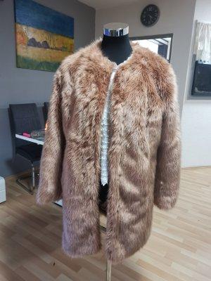 Asos Cappotto in eco pelliccia beige-albicocca