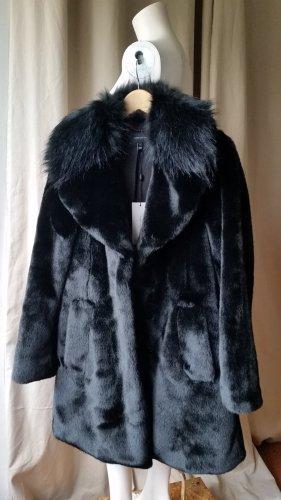 KAREN MILLEN Abrigo de piel sintética negro