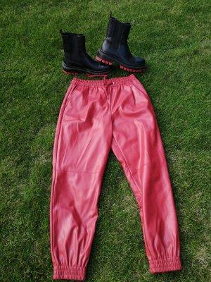 B/W Zara Collection Leren broek rood