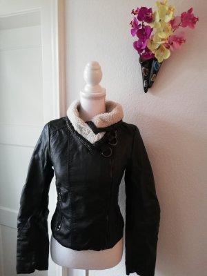 H&M Kurtka z imitacji skóry czarny-w kolorze białej wełny