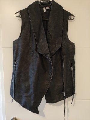 H&M Divided Kamizelka typu biker czarny-srebrny