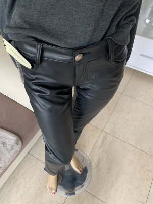 Fionina Jeans Leather Trousers black