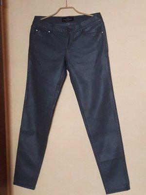 Clockhouse Pantalon en cuir gris foncé