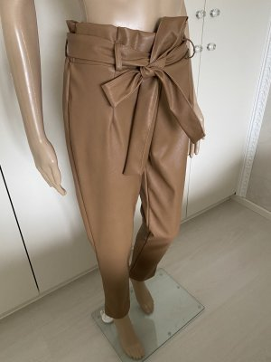 She la love Leather Trousers cognac-coloured