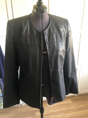 Fabiani Faux Leather Jacket dark brown