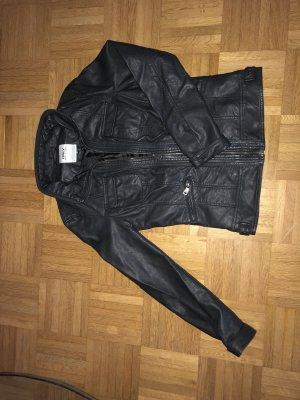 Only Chaqueta de cuero de imitación negro-gris antracita