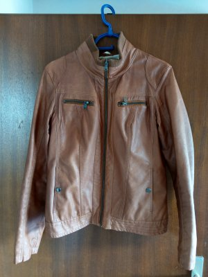 Orsay Faux Leather Jacket bronze-colored viscose