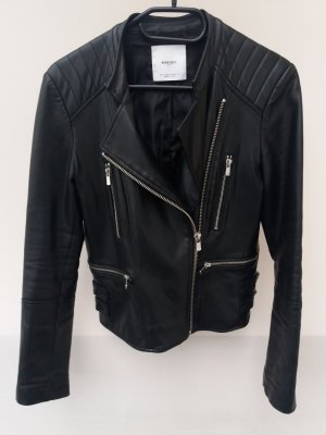 Mango Faux Leather Jacket black-silver-colored