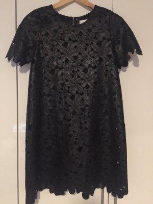 Kunstleder Kleid mit Blumen Muster