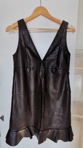 Mango Vestido de cuero marrón-negro Poliéster