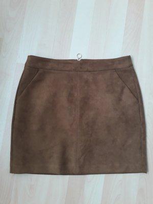 Vero Moda Falda de cuero de imitación marrón