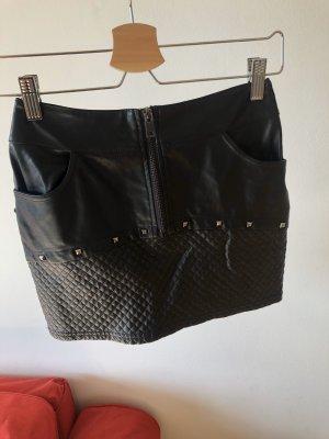 Gondola Blu Faux Leather Skirt black