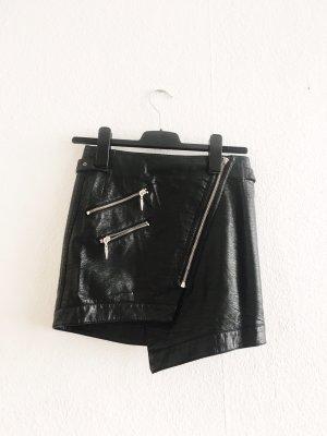 Kunstleder Rock asymmetrisch schwarz