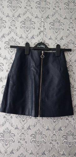 H&M Faux Leather Skirt dark blue