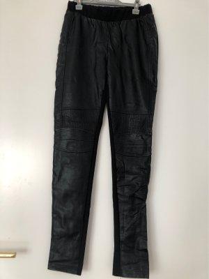 Vila Clothes Pantalón de cuero negro
