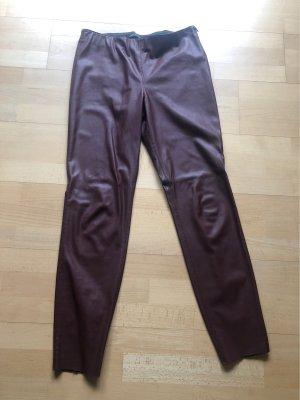 Zara Woman Leather Trousers bordeaux