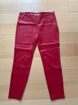 Aako Pantalon en cuir rouge foncé