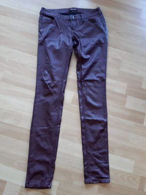 Blue Rags Leather Trousers cognac-coloured-brown red